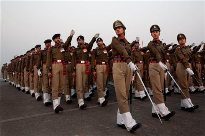 Rehearsals for the upcoming Republic Day parade