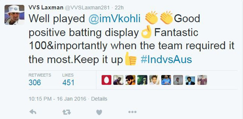 ind vs aus: cricket stalwarts shower praise for virat kohli on twitter