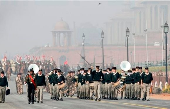 French Army march during the rehearsals for the upcoming Republic Day
