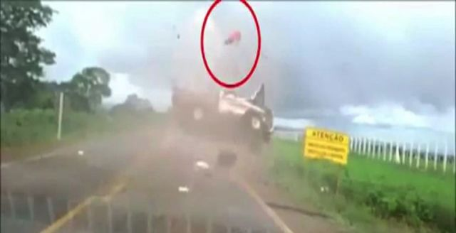 IN PICS: Man sent flying after truck rolls in Brazil