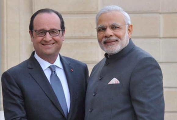PM modi-francois holland meeting on republic day