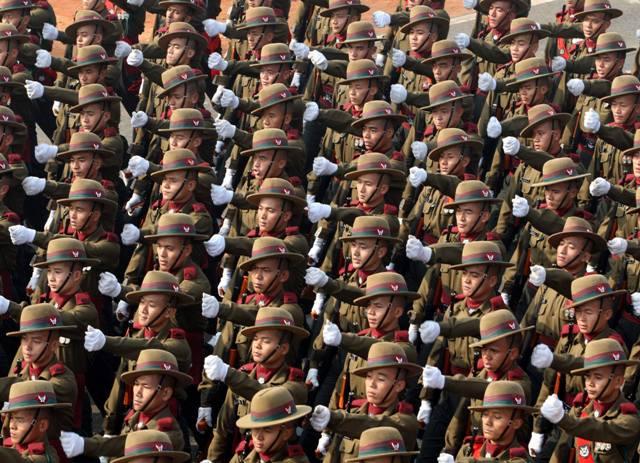 Full dress rehersal of 67th Republic Day parade