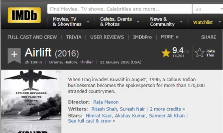 Airlift IMDb Rating