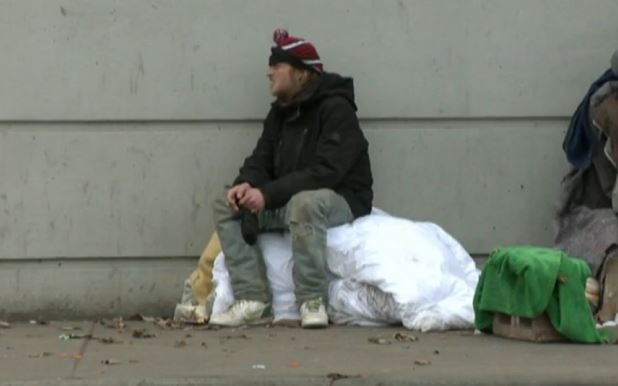 Homeless beggar accepts credit cards