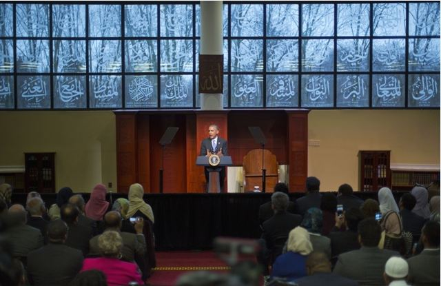 Barack Obama visits mosque for first time during his presidency