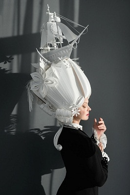 Russian Artist Creates Intricate Baroque Wigs From Paper