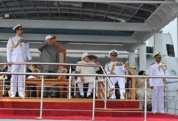 President, PM Modi onboard INS Sumitra for International Fleet Review