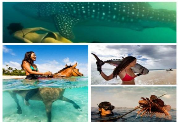 पानी में घुड़सवारी करने वाली ये मॉडल ऑक्टोपस को बिना हथियार देती है मार