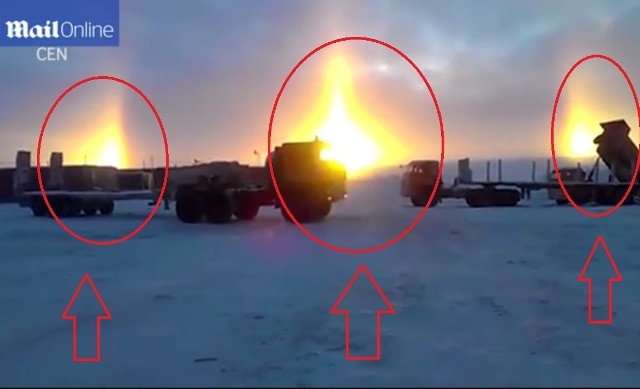Breathtaking footage captures rare optical illusion over Russia as THREE suns appear in the sky