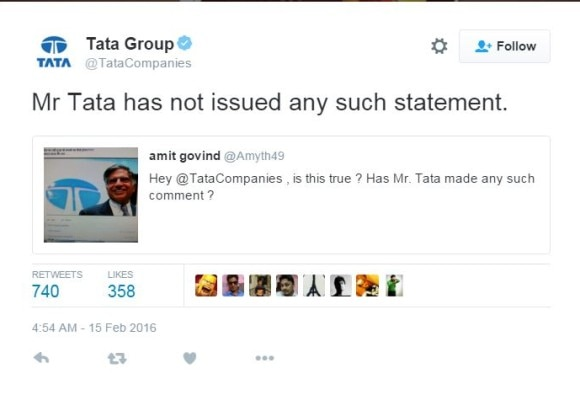Ratan Tata has not made any comments on JNU: tata group