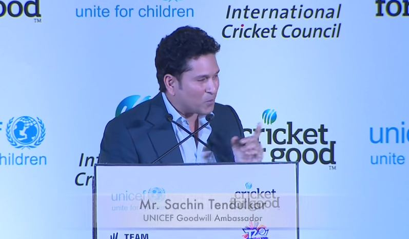 Sachin in ICC-Unicef TeamSwachh program