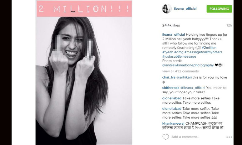 ileana d'cruz gets two million followers on instagram