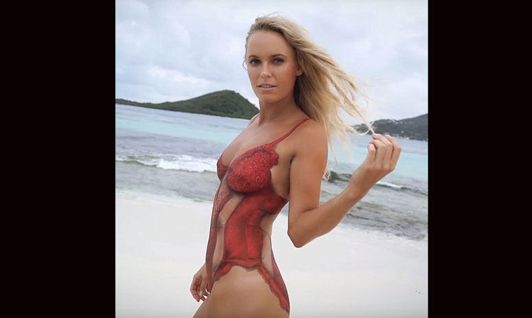 Caroline Wozniacki flaunted her flawless figure in nothing but body paint
