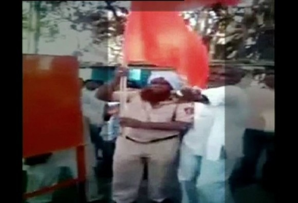 Latur: Beaten and forced to wave saffron