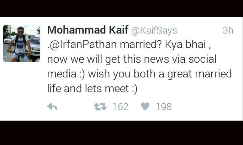 mohammad kaif and irfan pathan bicker positively on twitter over marriage invitation