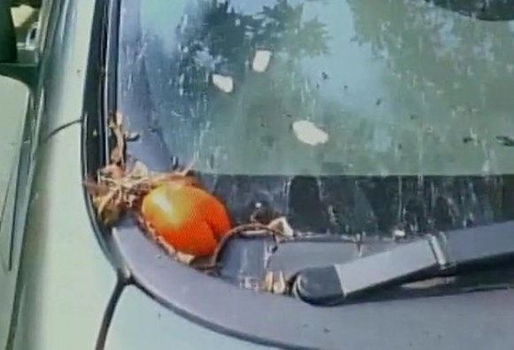 Subramanian Swamy's car pelted with eggs & tomatoes in Kanpur