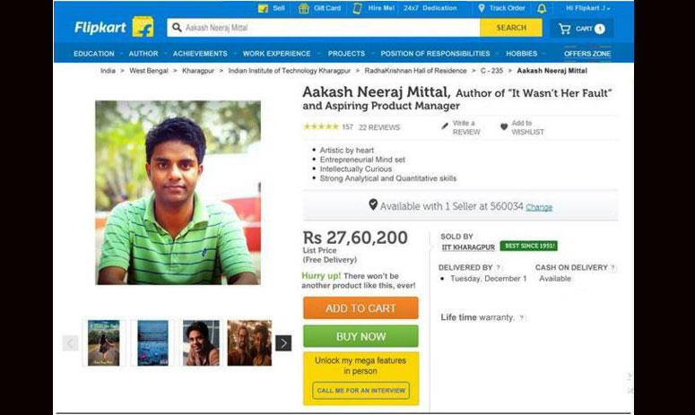 smart stunt by an iit student for getting a job in flipkart