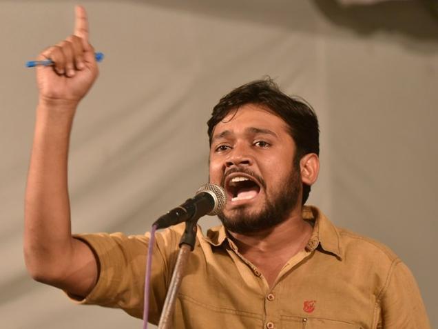 Kanhaiya Kumar addresses students on the JNU campus