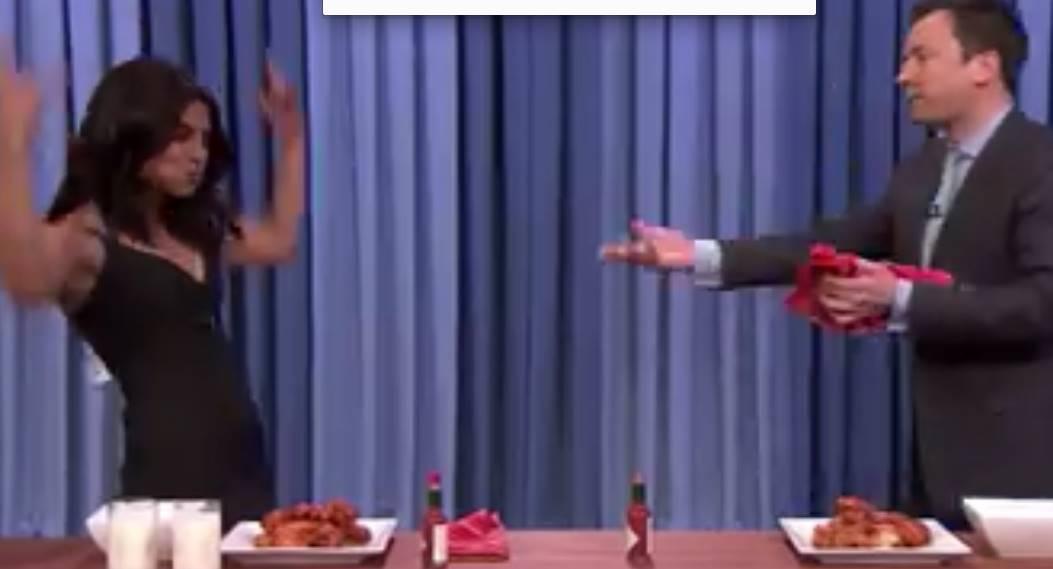 Priyanka Chopra beats Jimmy Fallon in a chicken wing eat-off