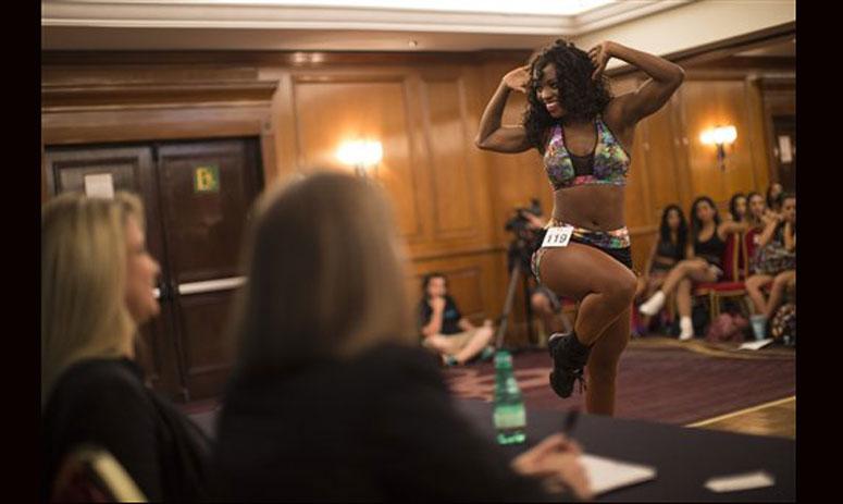dancers compete in cheerleader auditions, in Rio de Janeiro, Brazil