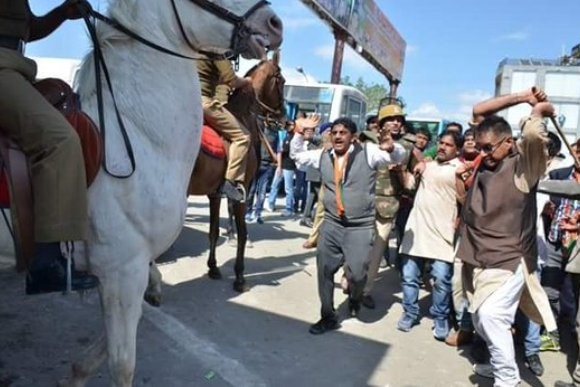 BJP MLA booked for 'attacking police horse, breaking its leg'