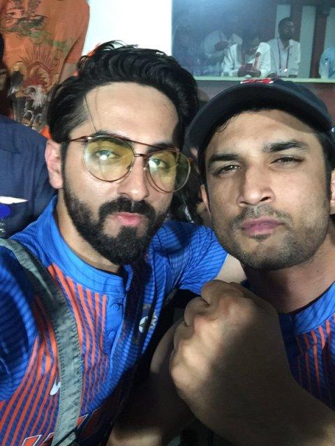 Sushant Singh Rajput poses for a selfie with Indian skipper MS Dhoni