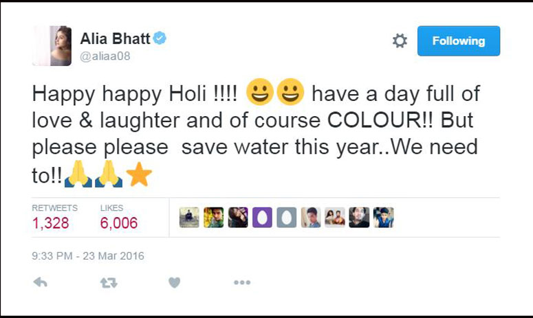 in their holi message, bollywood stars ask for saving water