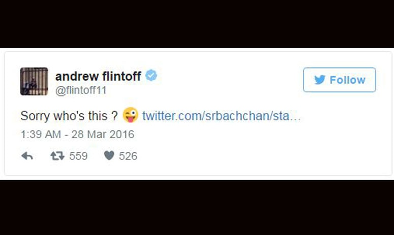 amitabh and flintoff exchange tweets over kohli