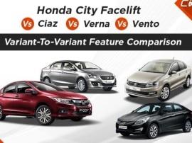वेरिएंट Vs वेरिएंट: होंडा सिटी फेसलिफ्ट का मुकाबला सियाज़, वरना और वेंटो से...