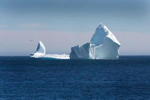 A large iceberg is visible from the shore in Ferryland in Canada