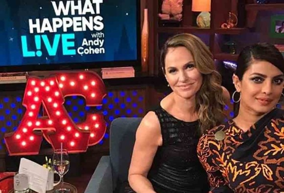 Priyanka Chopra shoots for Andy Cohen's chat show in a black and golden dress