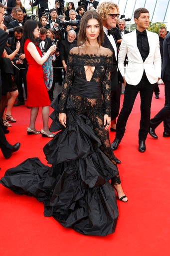 Model Emily Ratajkowski poses for photographers upon arrival at the screening of the film Loveless at the 70th international film festival, Cannes