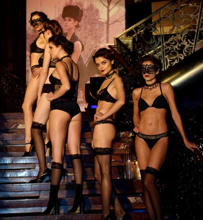 Models walk the ramp during the launch of brand Lingerie Shop in Mumbai