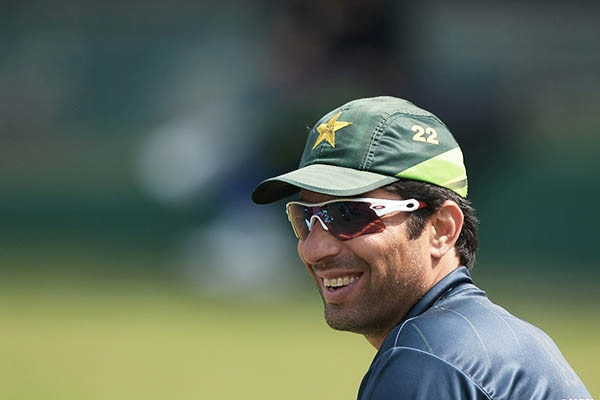 Pakistan captain Misbah-ul-Haq looks on during a practice session ahead of the final of the Asia Cup one-day cricket tournament between Pakistan and Sri Lanka at the Sher-e-Bangla National Cricket Stadium in Dhaka on March 7, 2014. AFP PHOTO/Dibyangshu SARKAR