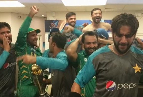 watch video of pakistan cricket team celebration in dressing room after champions trophy win