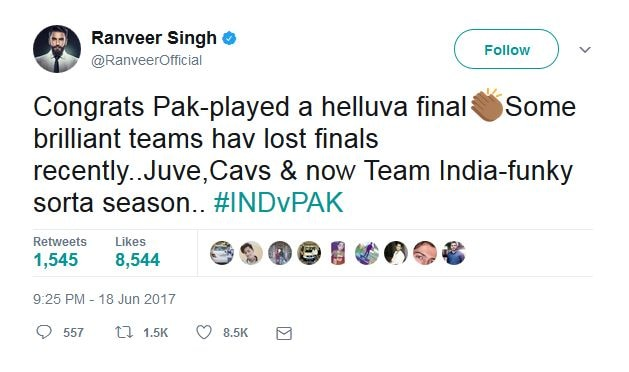 Inspite of lose, india still the greatest team in the world, says Bollywood Actor Ranveer Singh