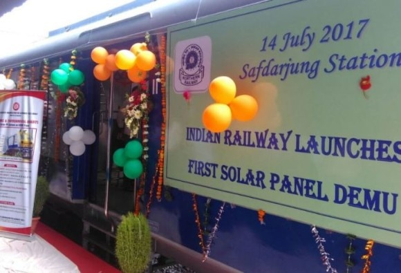 Railway minister Suresh Prabhu dedicates first solar powered DEMU train to nation in New Delhi