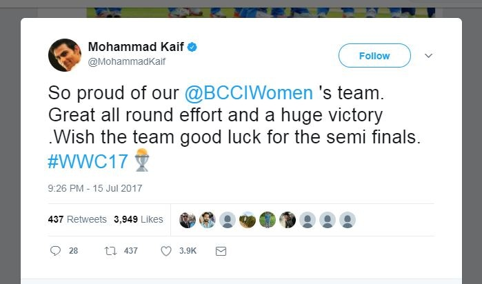 Cricketers wishes Indian womens team on a great victory