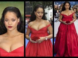 अपनी फिल्म के प्रीमियर पर रिहाना ने रेड गाउन में दिखाया बोल्ड अवतार, देखें तस्वीरें