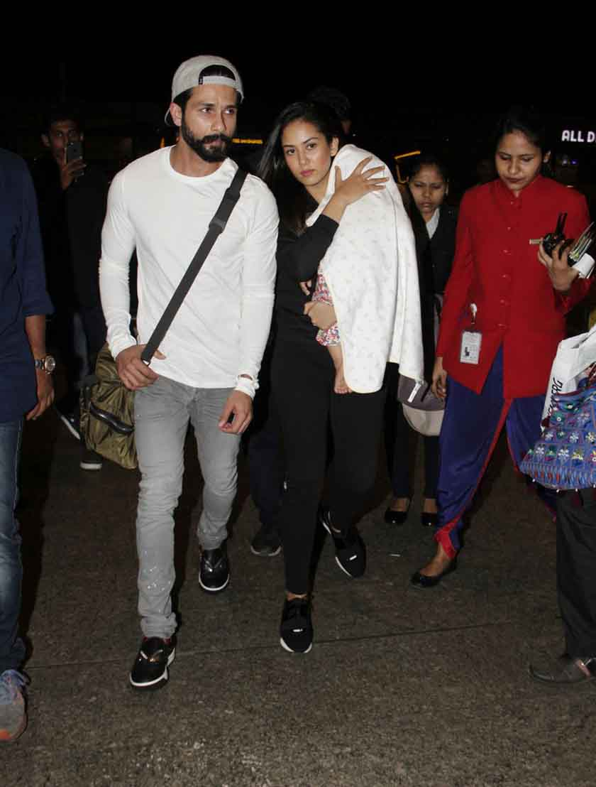 Shahid Kapoor and Mira leave for their vacation with Misha to ring in her first birthday