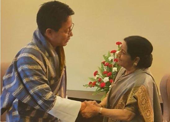 EAM Sushma Swaraj meets with FM of Bhutan Damcho Dorji