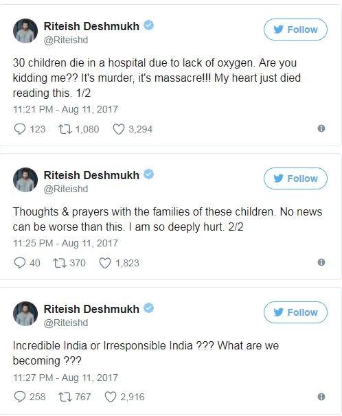 Bollywood celebs reaction on Gorakhpur tragedy