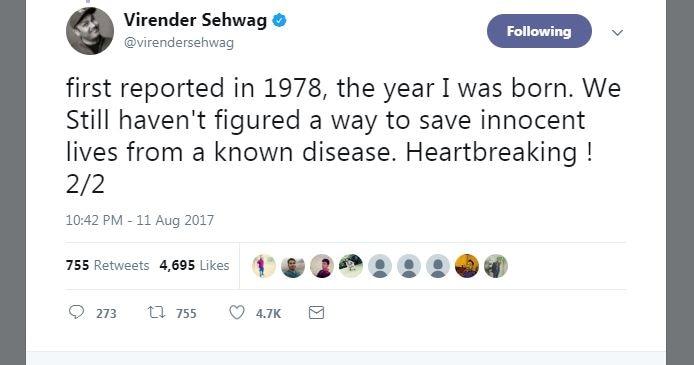virender sehwag trolls on social media after gorakhpur incidence