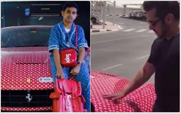 फेरारी कार देख एक्साइटेड हुए सलमान खान, 15 साल का यह लड़का है कार का मालिक