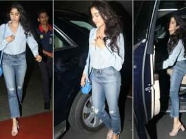 मुंबई एयरपोर्ट पर कैमरे में कैद हुईं जाह्नवी कपूर