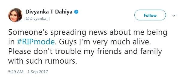 Divyanka Tripathi was rumoured to be DEAD