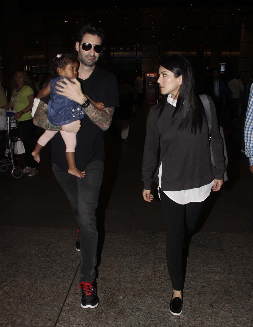 Sunny Leone and husband Daniel Weber return from Delhi with their daughter, Nisha