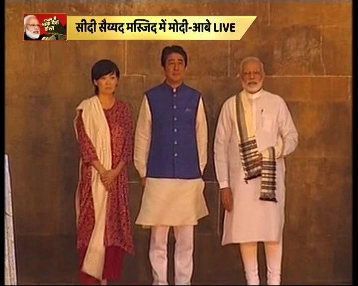PM Modi visits Sidi Saiyyid Mosque with Japanese PM Shinzo Abe and his wife