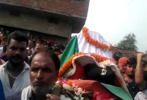 Wreath laying ceremony of BSF constable Brijendra Bahadur Singh in UP
