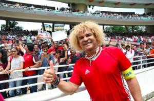 Carlos Valderrama (in pic) Fernando Morientes, Marcel Desailly, Jorge Campos and Emmanuel Amuneke – took part in an exhibition game at Dr DY Patil Stadium
